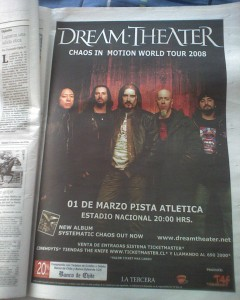Afiche de Dream Theater a página completa en prensa local